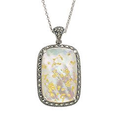 Lavish by TJM Sterling Silver Crystal & Mother-of-Pearl Doublet Frame Pendant - Made with Swarovski Marcasite