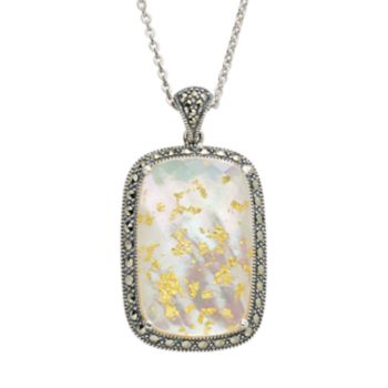 Lavish by TJM Sterling Silver Crystal and Mother-of-Pearl Doublet Frame Pendant - Made with Swarovski Marcasite