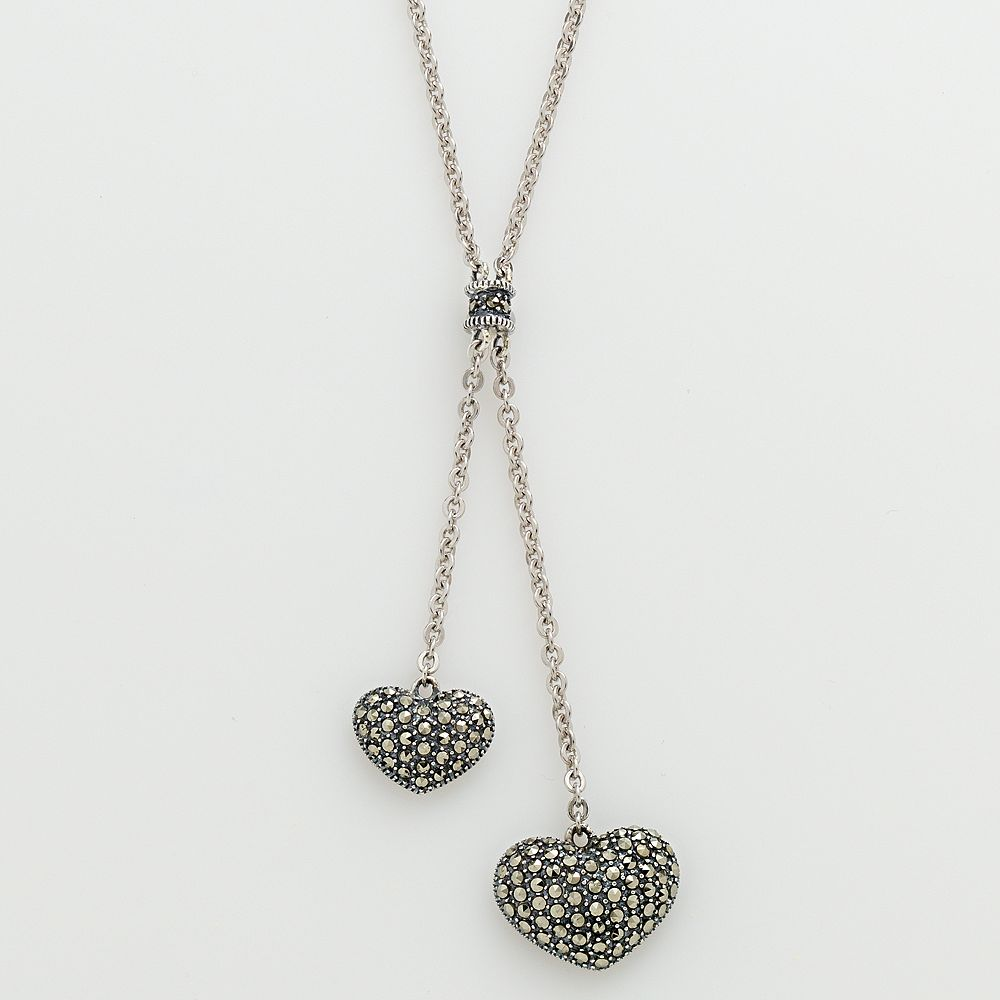 Lavish by TJM Sterling Silver Heart Lariat Necklace - Made with Swarovski Marcasite