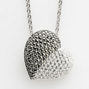 Lavish by TJM Sterling Silver Crystal Heart Pendant - Made with Swarovski Marcasite