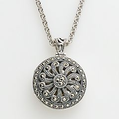 Lavish by TJM Sterling Silver Openwork Locket - Made with Swarovski Marcasite
