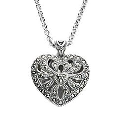 Lavish by TJM Sterling Silver Openwork Heart Locket - Made with Swarovski Marcasite