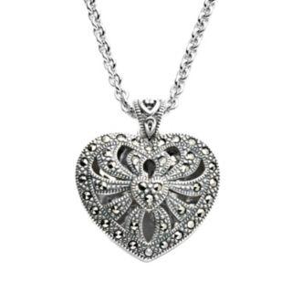 Lavish by TJM Sterling Silver Openwork Heart Locket - Made with Swarovski Marcasite