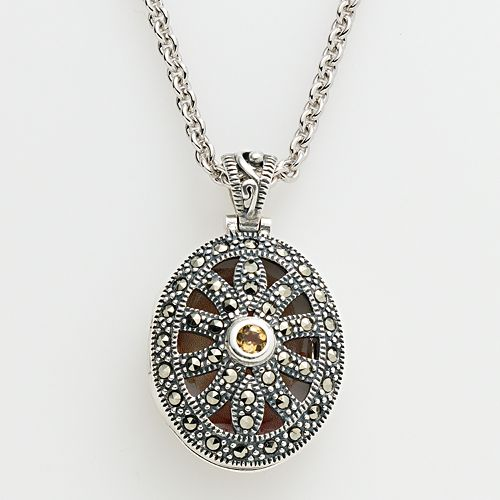 Lavish by TJM Sterling Silver Citrine Openwork Oval Locket - Made with Swarovski Marcasite