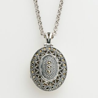 Lavish by TJM Sterling Silver Openwork Oval Locket - Made with Swarovski Marcasite