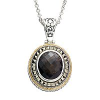 Lavish by TJM 14k Gold Over Silver & Sterling Silver Smoky Quartz Frame Pendant - Made with Swarovski Marcasite