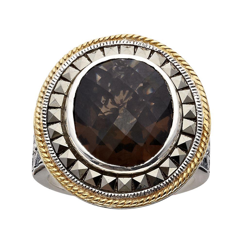 Lavish by TJM 14k Gold Over Silver & Sterling Silver Smoky Quartz Frame Ring - Made with Swarovski Marcasite