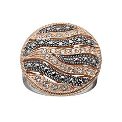 Lavish by TJM 14k Rose Gold Over Silver & Sterling Silver Crystal Striped Ring - Made with Swarovski Marcasite