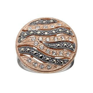 Lavish by TJM 14k Rose Gold Over Silver and Sterling Silver Crystal Striped Ring - Made with Swarovski Marcasite