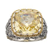 Lavish by TJM 14k Gold Over Silver and Sterling Silver Canary Cubic Zirconia Openwork Ring - Made with Swarovski Marcasite