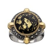 Lavish by TJM 14k Gold Over Silver & Sterling Silver Crystal & Onyx Doublet Frame Ring - Made with Swarovski Marcasite