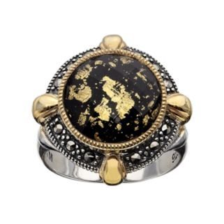 Lavish by TJM 14k Gold Over Silver and Sterling Silver Crystal and Onyx Doublet Frame Ring - Made with Swarovski Marcasite