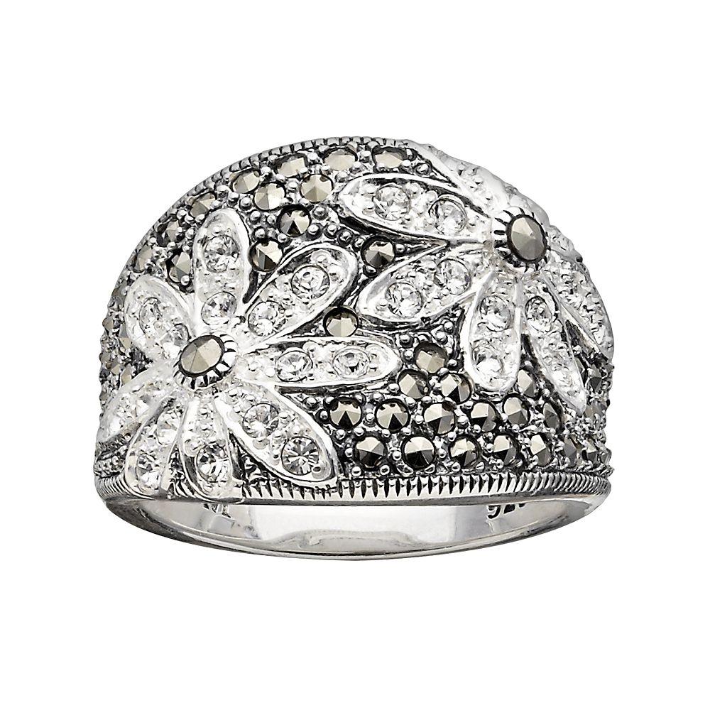 Lavish by TJM Sterling Silver Crystal Flower Ring - Made with Swarovski Marcasite