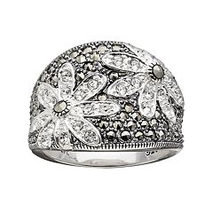 Lavish by TJM Sterling Silver Crystal Flower Ring - Made with Swarovski Marcasite