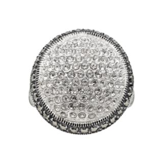 Lavish by TJM Sterling Silver Crystal Dome Ring - Made with Swarovski Marcasite