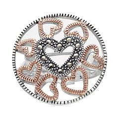 Lavish by TJM 14k Rose Gold Over Silver & Sterling Silver Heart Openwork Ring - Made with Swarovski Marcasite
