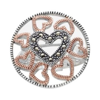 Lavish by TJM 14k Rose Gold Over Silver and Sterling Silver Heart Openwork Ring - Made with Swarovski Marcasite