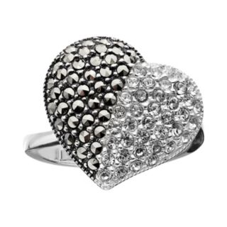 Lavish by TJM Sterling Silver Crystal Heart Ring - Made with Swarovski Marcasite