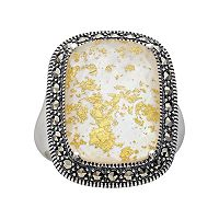 Lavish by TJM Sterling Silver Crystal & Mother-of-Pearl Doublet Frame Ring - Made with Swarovski Marcasite