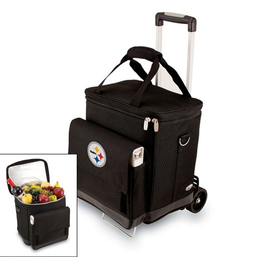 Picnic Time Pittsburgh Steelers Cellar Insulated Wine Cooler and Hand Cart