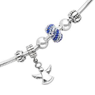 Individuality Beads Sterling Silver Snake Chain Bracelet, Crystal Bead and Angel Charm Set