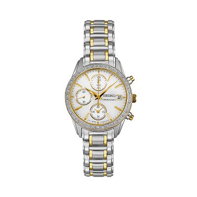 Seiko Stainless Steel Two Tone Crystal & Mother-of-Pearl Chronograph Watch - SNDY20 - Women