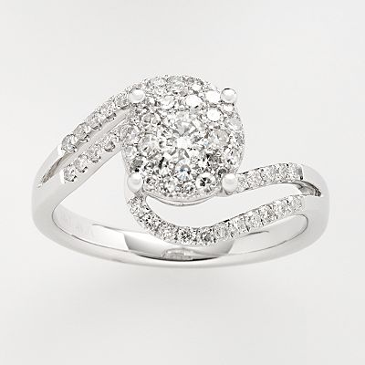14k White Gold 2/3-ct. T.W. Diamond Swirl Ring