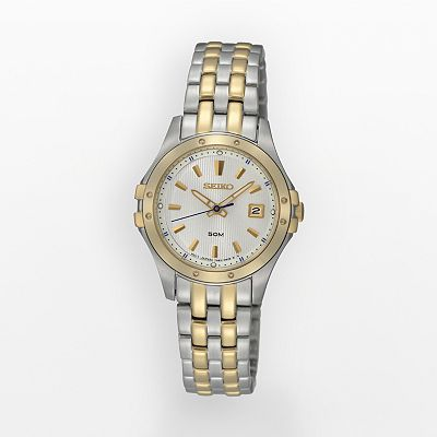 Seiko Stainless Steel Two Tone Mother-of-Pearl Watch - SXDC96 - Women