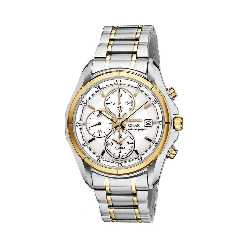 Seiko Men's Two Tone Stainless Steel Solar Chronograph Watch - SSC002