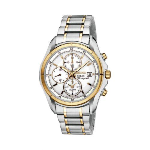 Seiko Solar Stainless Steel Two Tone Chronograph Watch - SSC002 - Men