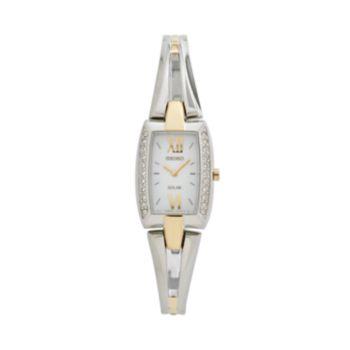 Seiko Women's Tressia Crystal Two Tone Stainless Steel Half-Bangle Solar Watch - SUP084