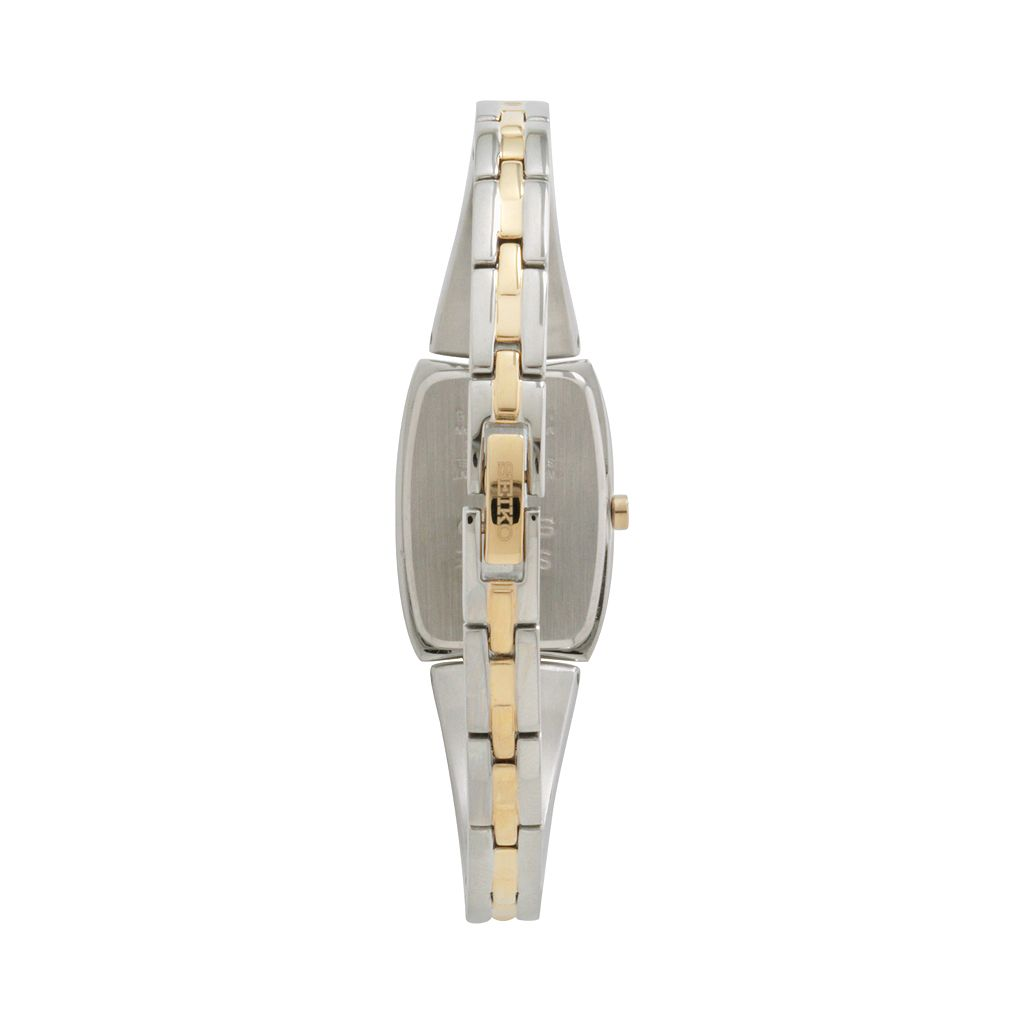 Seiko Women's Tressia Crystal Two Tone Stainless Steel Half-Bangle Solar Watch - SUP084
