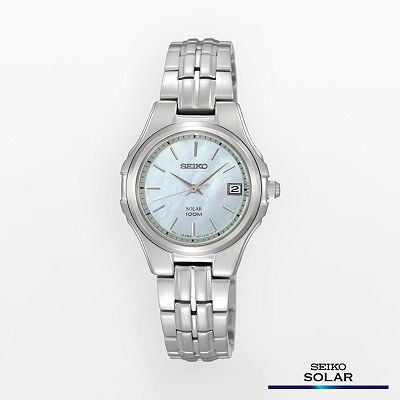 Seiko Solar Stainless Steel Mother-of-Pearl Watch - SUT047 - Women