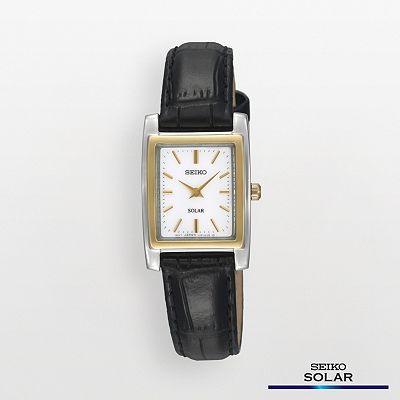 Seiko Solar Stainless Steel Two Tone Leather Watch - SUP062 - Women