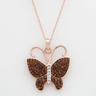 14k Rose Gold-Over-Silver Crystal Butterfly Pendant - Made with Swarovski Crystals