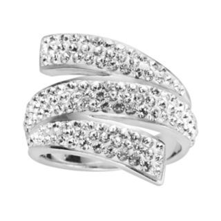 Sterling Silver Crystal Bypass Ring - Made with Swarovski Crystals