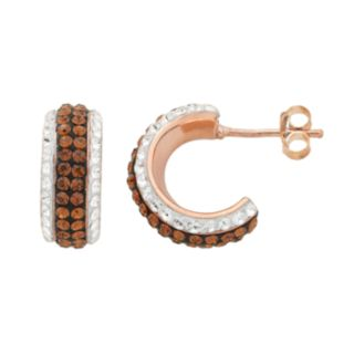 14k Rose Gold Over Silver Crystal Striped Hoop Earrings