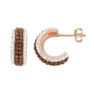 14k Rose Gold Over Silver Crystal Striped Hoop Earrings