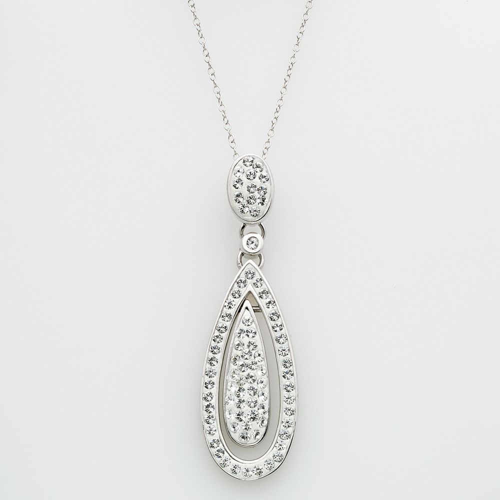 Sterling Silver Crystal Teardrop Pendant - Made with Swarovski Crystals