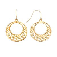 10k Gold Filigree Hoop Drop Earrings