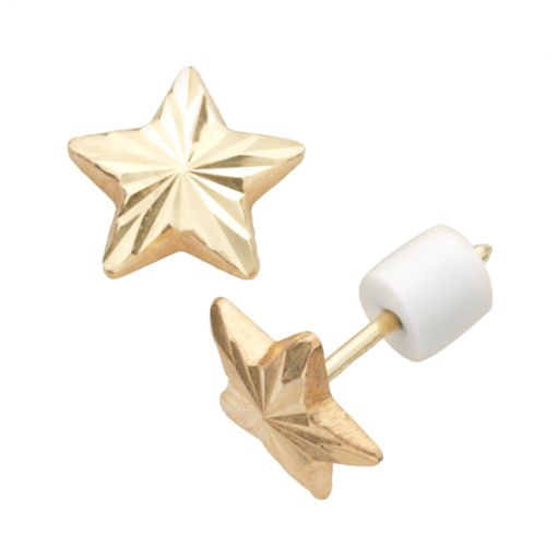 14k Gold Textured Star Stud Earrings