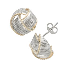 14k Gold and Sterling Silver Textured Knot Stud Earrings