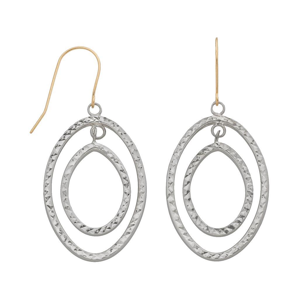 14k Gold & Sterling Silver Textured Oval Hoop Drop Earrings