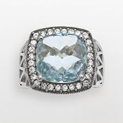Sterling Silver Blue Topaz and Lab-Created White Sapphire Frame Ring
