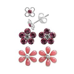 Sterling Silver Crystal Flower Stud Earring Set - Kids
