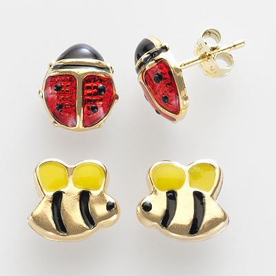 14k Gold-Over-Silver Bumblebee and Ladybug Stud Earring Set - Kids