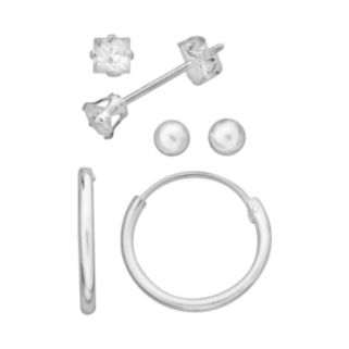 Sterling Silver Cubic Zirconia Hoop and Stud Earring Set - Kids
