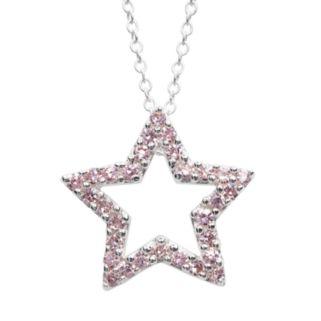 Sterling Silver Pink Crystal Openwork Star Pendant - Kids