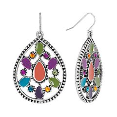 Mudd® Silver Tone Simulated Crystal Textured Teardrop Earrings