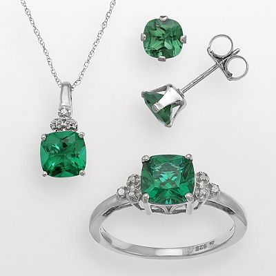 Sterling Silver Simulated Emerald and Lab-Created White Sapphire Pendant, Ring and Stud Earring Set